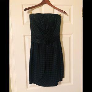 Vintage black strapless sateen checkerboard dress